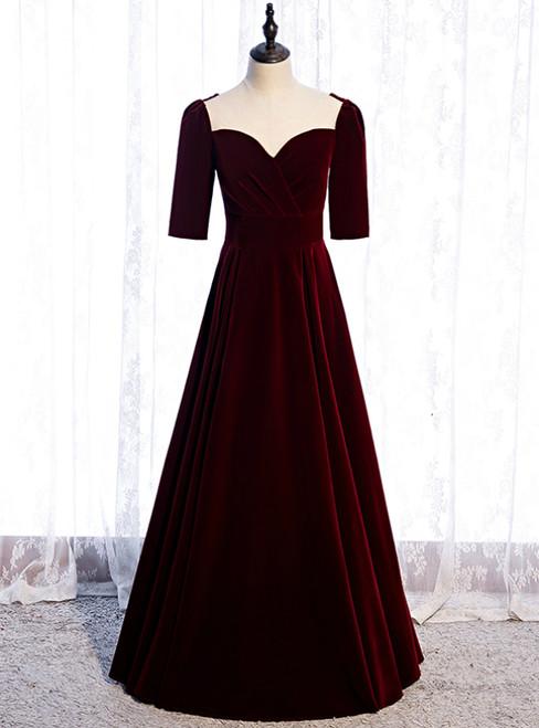 Burgundy Velvet Short Sleeve Scoop Prom Dress