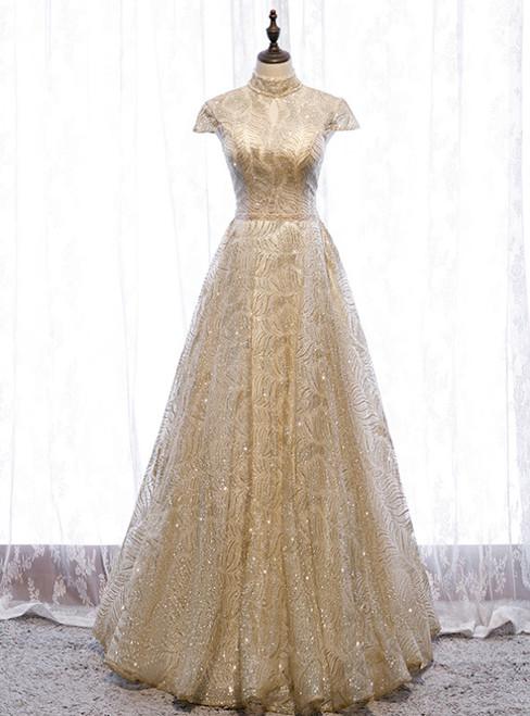 A-Line Gold Sequins High Neck Cap Sleeve Prom Dress