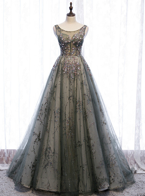 Gray Tulle Sequins Backless Sleeveless Prom Dress