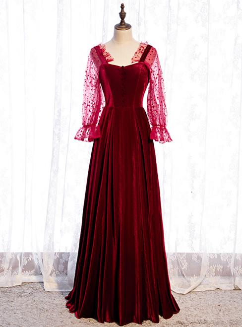 A-Line Burgundy Velvet Square Long Sleeve Wave Point Prom Dress
