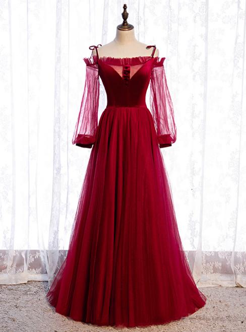 Burgundy Tulle Velvet Spaghetti Straps Long Sleeve Prom Dress