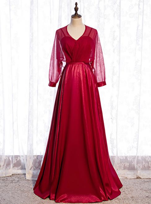 A-Line Burgundy Satin Long Sleeve V-neck Prom Dress