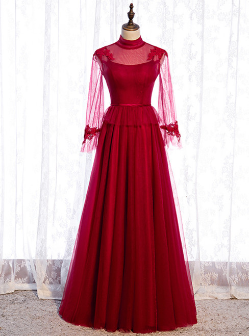 Burgundy Tulle High Neck Long Sleeve Backless Prom Dress