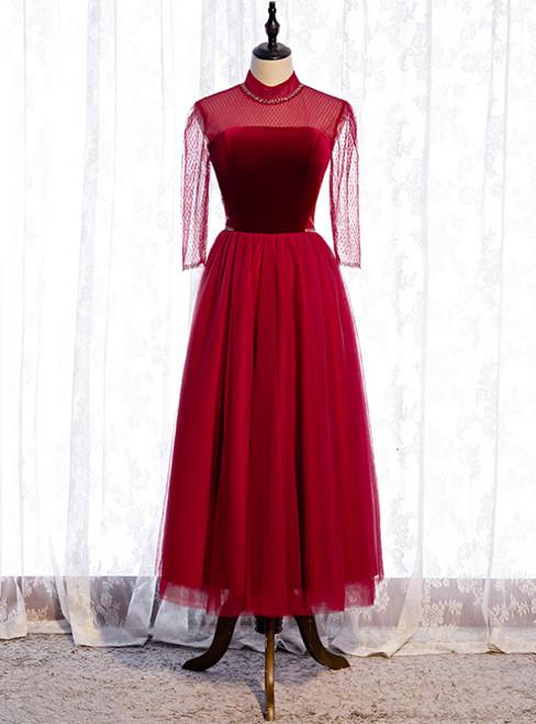 Formal Tulle Burgundy Short Sleeve High Neck Prom Dress