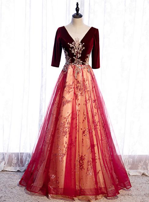 Burgundy Tulle Velvet Sequins V-neck Short Sleeve Prom Dress