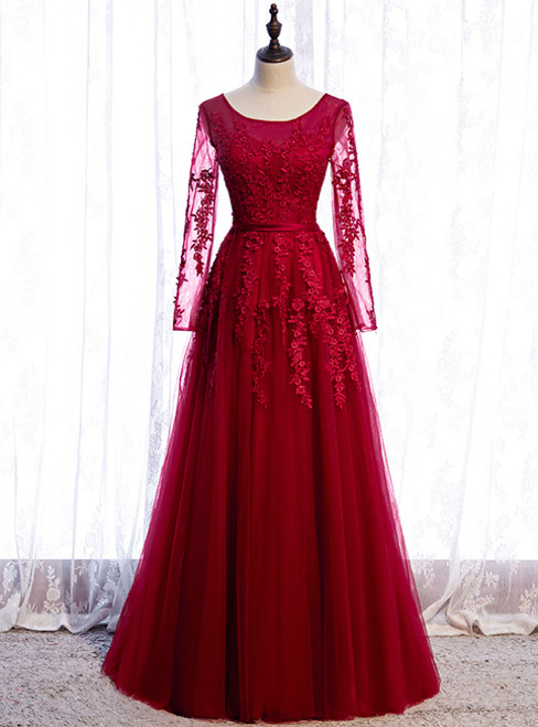 Burgundy Tulle Appliques Long Sleeve Prom Dress