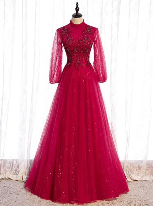 Burgundy Tulle Sequins Long Sleeve High Neck Beading Prom Dress