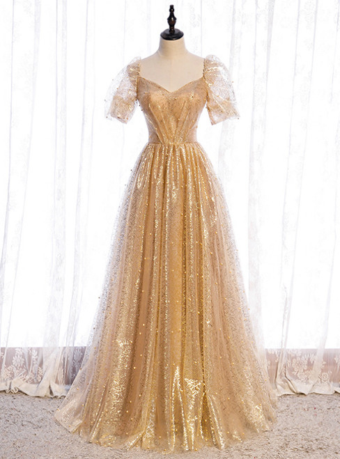 Gold Tulle Sequins Square Short Sleeve Pearls Prom Dress