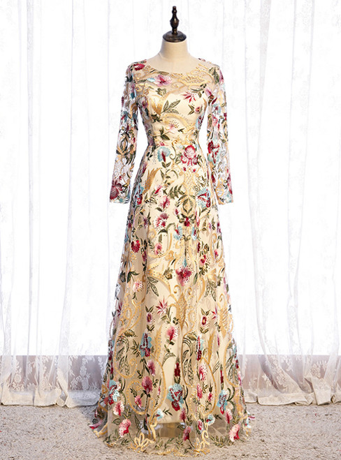 A-Line Gold Tulle Embroidery Long Sleeve Prom Dress