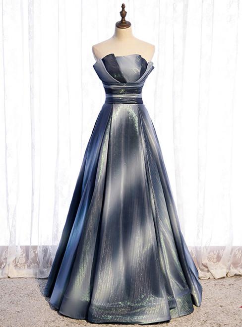 A-Line Strapless Pleats Sleeveless Prom Dress