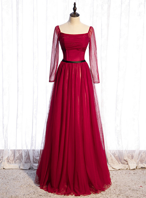 Burgundy Tulle Square Long Sleeve Prom Dress