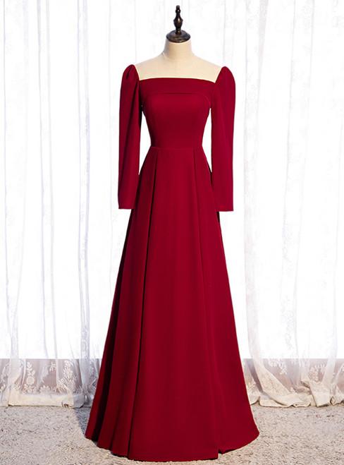 Simple Burgundy Long Sleeve Scoop Prom Dress