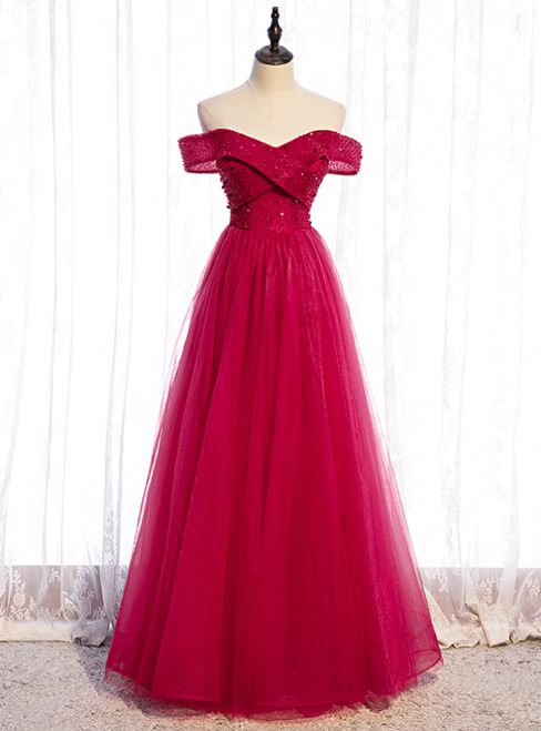 A-Line Burgundy Tulle Off the Shoulder Beading Sequins Prom Dress