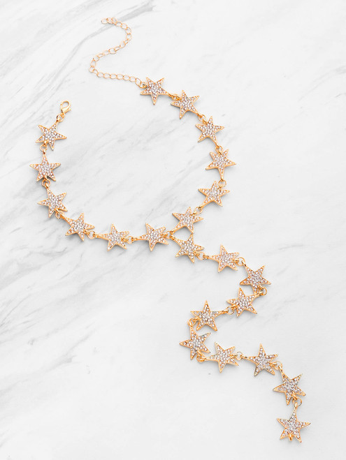 Rhinestone Embellished Star Design Y Necklace