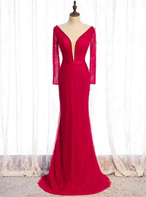 Burgundy Mermaid Lace Long Sleeve Beading Prom Dress