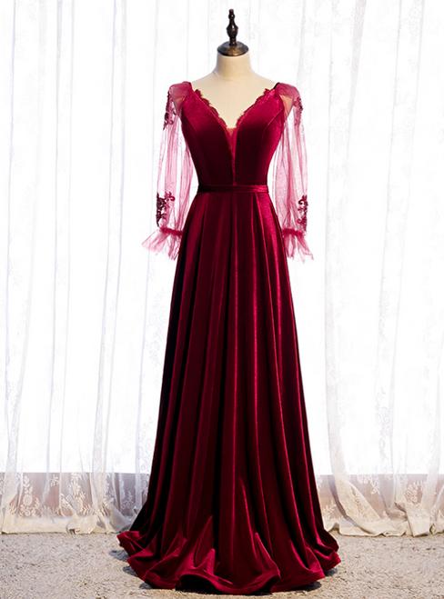 A-Line Burgundy Velvet Long Sleeve V-neck Prom Dress