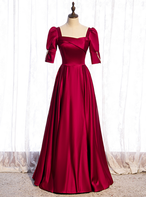 Burgundy Satin Square Short Sleeve Pearls Prom Dress
