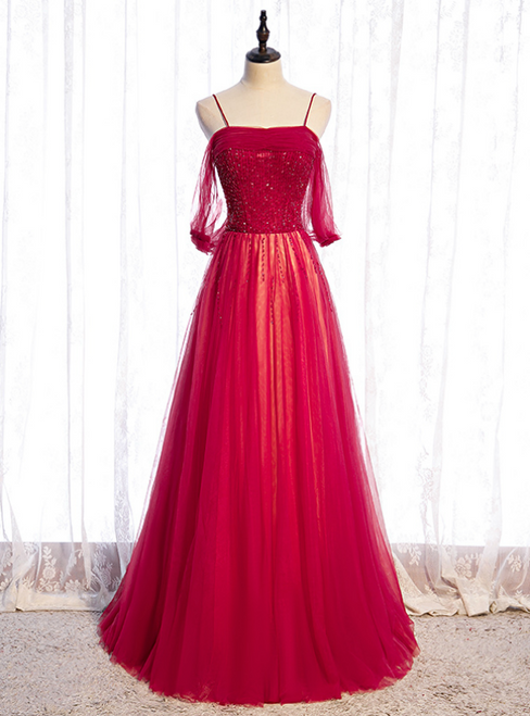 Burgundy Tulle Spaghetti Straps Beading Pleats Prom Dress