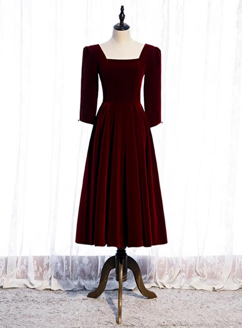 Dark Burgundy Velvet Square Half Sleeve Tea Length Prom Dress
