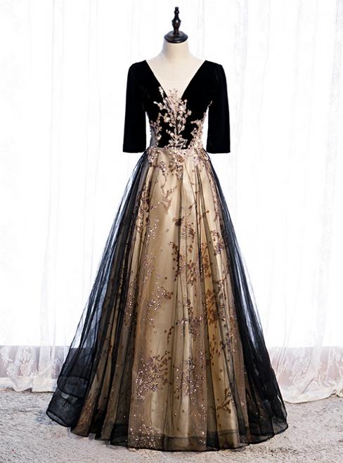 Black Tulle Velvet Short Sleeve Sequins Prom Dress