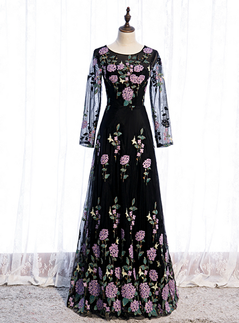 Black Tulle Embroidery Long Sleeve Scoop Prom Dress