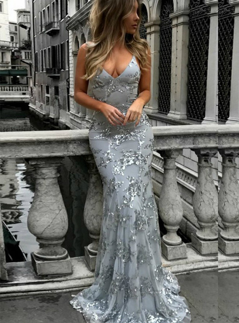 Sparkly Lace Mermaid Evening Dress  V Neck Backless Long Prom Dress