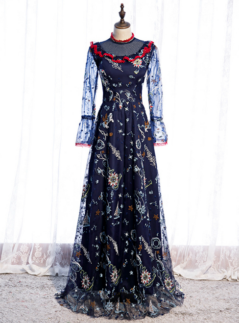 Navy Blue Long Sleeve Embroidery High Neck Prom Dress