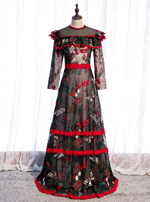 A-Line Black Tulle Long Sleeve Embroidery Prom Dress