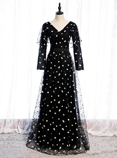 Black Tulle Long Sleeve V-neck Little Daisy Prom Dress