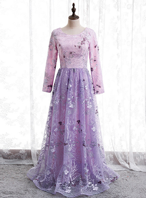 A-Line Purple Tulle Embroidery Long Sleeve Prom Dress
