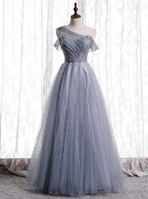 Gray Tulle Sequins Scoop Pearls Formal Prom Dress