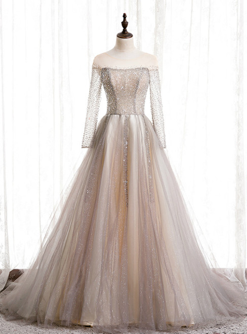 Champagne Tulle Long Sleeve Beading Prom Dress