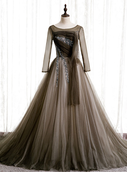 Gray Tulle Long Sleeve Pleats Beading Prom Dress