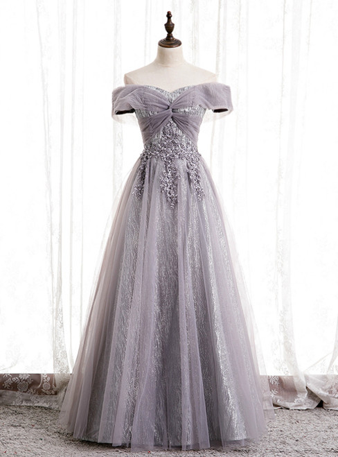 Purple Tulle Off the Shoulder Embrodiery Off the Shoulder Prom Dress