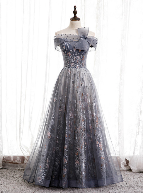 Fashion Gray Tulle Off the Shoulder Beading Prom Dress