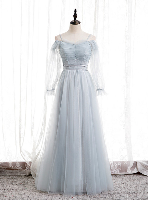 Light Blue Tulle Spaghetti Straps Long Sleeve Pleats Prom Dress