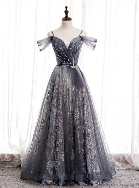 A-Line Gray Tulle Sequins Spaghetti Straps Prom Dress