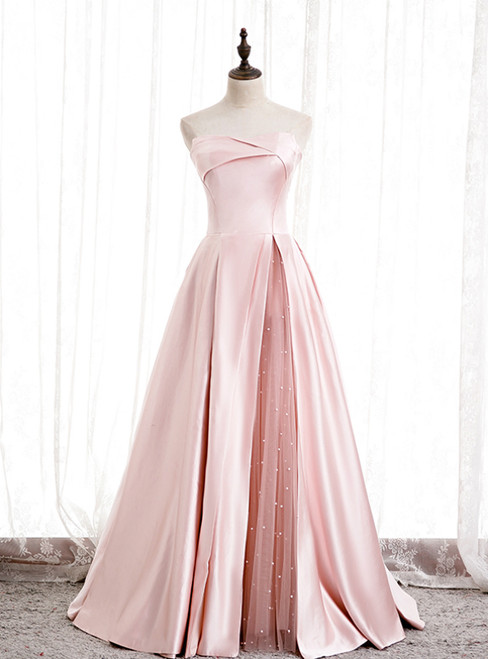 A-Line Pink Satin Strapless Pleats Long Prom Dress
