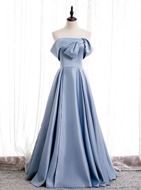 Blue Satin Strapless Pearls Long Prom Dress