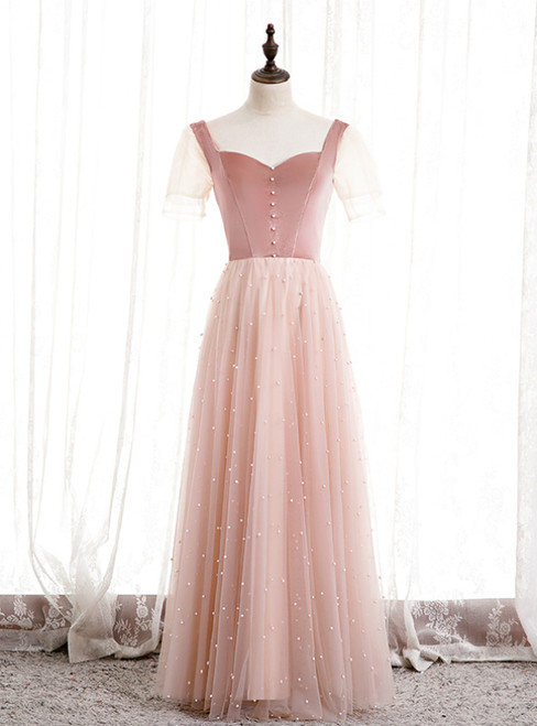 Pink Tulle Velvet Short Sleeve Square Pearls Prom Dress