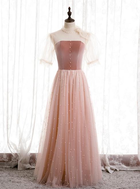 A-Line Pink Tulle Velvet High Neck Short Sleeve Prom Dress