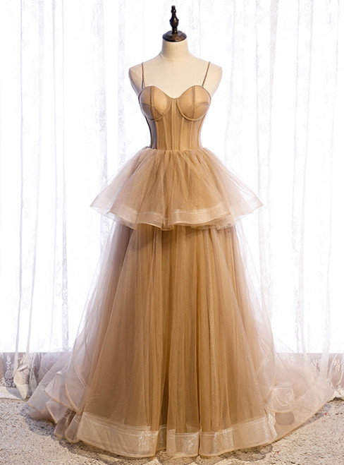 Sexy Champagne Tulle Spaghetti Straps Prom Dress