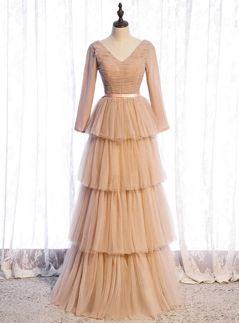 Champagne Tulle Long Sleeve V-neck Pleats Prom Dress