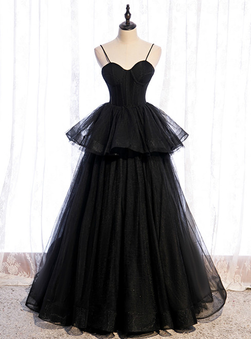 Black Tulle Spaghetti Straps Long Prom Dress