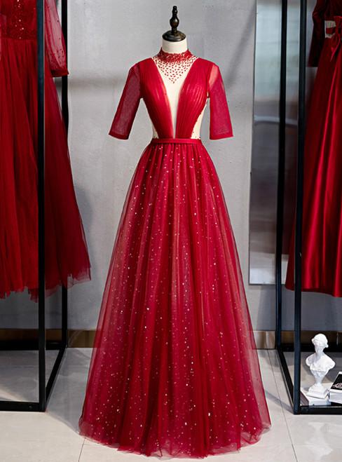 Burgundy Tulle High Neck Short Sleeve Pleats Beading Prom Dress