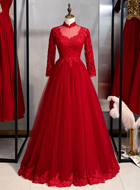 Burgundy Tulle Appliques High Neck Long Sleeve Prom Dress