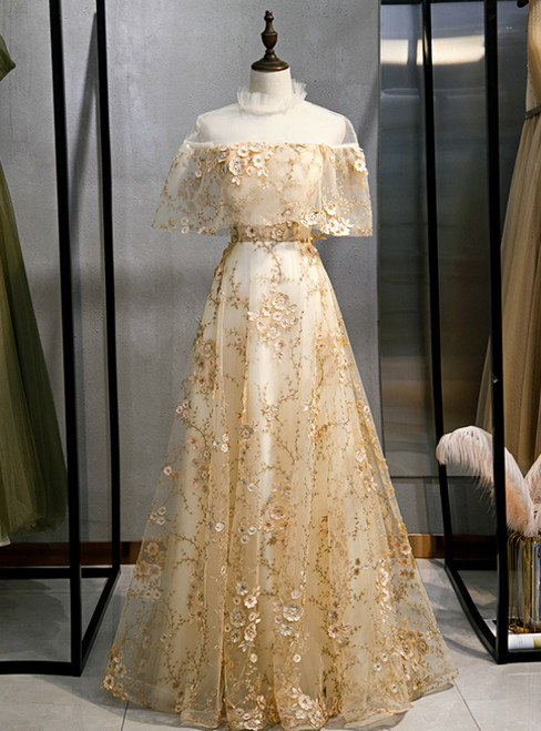 A-Line Champagne Tulle Appliques Prom Dress