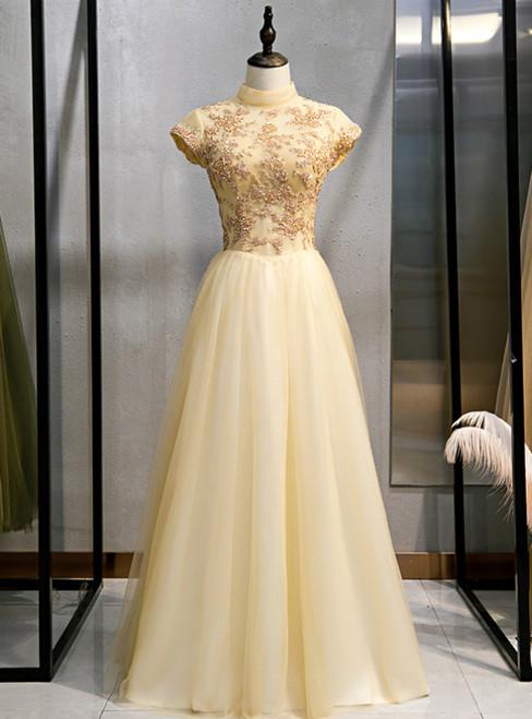 Gold Tulle High Neck Beading Open Back Prom Dress