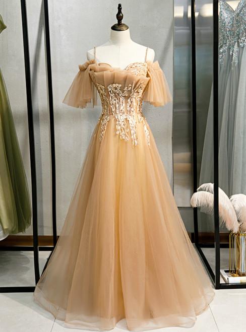 Champagne Tulle Spaghetti Straps Beading Prom Dress