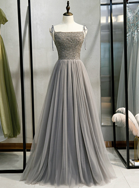 Gray Tulle Spaghetti Straps Beading Backless Prom Dress